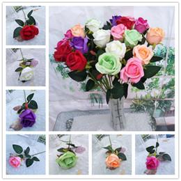 materiais de grinalda por atacado Desconto 7 Cores Flores Artificiais Rose Bouquet Flores Falsas Para Festa Em Casa Decoração de Casamento Flor Frete Grátis