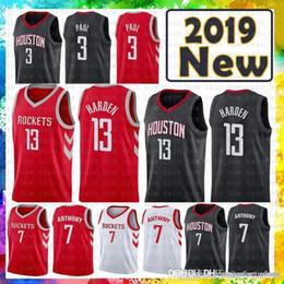 rote raketen Rabatt 100% genähte James 13 Harden Houston Jersey Rockets 3 Chris # Paul 7 Carmelo # Anthony-Basketballtrikots Rot Schwarz WEISS