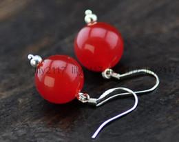 Giada naturale 12mm online-Orecchini in argento 925 con giada rossa liscia naturale 12mm, orecchini pendenti fatti a mano