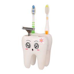 Cepillo de dientes de plastico online-Titular de cepillo de dientes de plástico poroso precioso cepillo de dientes estante de baño suministros de baño de dibujos animados soporte contenedor venta caliente 5 8lyE1