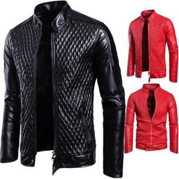 Rote lederjacke männer stil online-Quilten Lederjacken Männer 2019 Herbst Mode Motorradjacke Männer Rot Designer Ledermantel Plus Größe Europäischen Stil