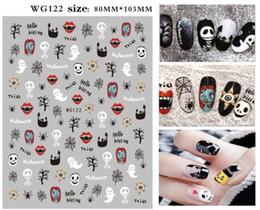 tipos de estilos de unhas Desconto New DIY Designs prego plástico Halloween etiqueta do prego abóbora Etiqueta do diabo do crânio etiqueta do prego WG117-122
