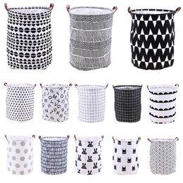 Складские стойки онлайн-Home Folding Laundry Basket Cartoon Storage Barrel Standing Toys Clothing Storage Bucket Laundry Organizer Holder Pouch TTA782