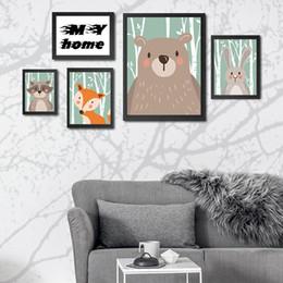 2019 pinturas de arte africana mulheres Pinturas Animais dos desenhos animados Sala de Crianças Bonito Urso Raposa Rabbit Guaxinim Decoração Tintas Sala de estar Decoração Do Partido Do Cartaz Sem Moldura DBC DH1376