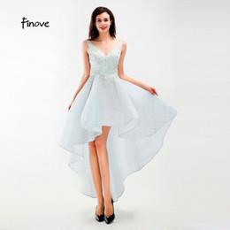Organza vestido de baile assimétrico on-line-Finove Prom Dress 2019 Vestido Longo Novo V Neck Apliques Frisado Assimétrico Comprimento Formal Mulher Vestido de Festa vestido de fiesta