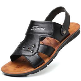 QWEDF 2019 Verano Tamaño grande Sandalias de los hombres de Moda Británica de Cuero Genuino Zapatos de Playa Para Hombre Masaje Casual Antideslizante SY-71 desde fabricantes