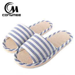 Хаки кроссовки онлайн-CONYMEE 2018 Summer Flats Shoes Woman Casual Sneakers Home Slippers Linen Beach Sandals Flip Flops Striped Women Indoor Slipper