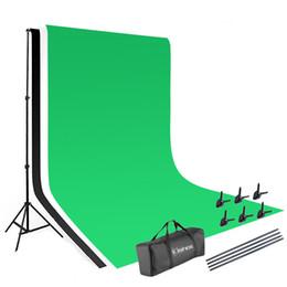 Grampos de fotografia on-line-Foto Video Studio backdrop Levante Kit 1.63m Sistema de Apoio Fotografia com 3 Peixes Boca Grampos 100% algodão (Black Green White)
