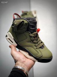 Resplandor oscuro zapatos de baloncesto tamaño online-Retro Niños 6 zapatos de baloncesto niño Travis Scotts x aire 6 Cactus Jack Medio oliva GLOW en el ejército de color verde oscuro de gamuza 3M Tamaño de zapatos 11 C-3Y