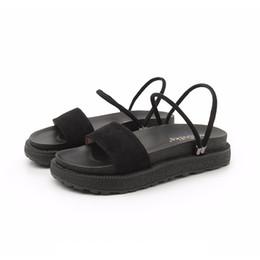 2019 sandalia de fondo plano plataformas El nuevo Slim Flat Bottom Wild Dos sandalias Plataforma inferior gruesa Zapatos Roman Women Shoes Fashion jooyoo rebajas sandalia de fondo plano plataformas
