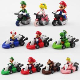 Argentina 10pcs / lot Mario Bros Luigi Yoshi seta del sapo de la princesa Peach Kart tira del coche Mario Donkey Kong figura de juguete para los niños Suministro
