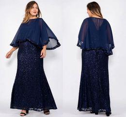 vestidos de noiva com mola Desconto Azul marinho Lantejoulas Bainha Mãe Da Noiva Vestidos Wuth Xaile Longo Chiffon Mãe Longa Formal Vestidos Plus Size Vestidos de Baile Eveninfg