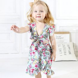 3a993712b18 Infant Toddlers Kids Baby Girl Clothes 2019 Summer Green Floral Bowknot Tube  Fly Sleeve Tops With Skirt Fashion 2pcs Outfits