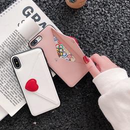 tarjetas de amor 3d Rebajas 3D Heart Love Case para Iphone XS MAX XR 8 7 Plus 6 6S TPU suave Sobre de lujo Tarjeta de ID de cuero PU Soporte para ranura de bolsillo Soporte para teléfono Cubiertas