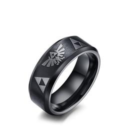 Bandas de juegos online-Anillo de superficie mate negro para hombres de acero inoxidable Wedding Band Zelda Game Lover Ornaments