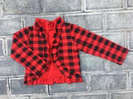 Cardigans de noël rouge en Ligne-Bébé fille de Noël blackred Buffalo Plaid manches manteau en tissu confère de coton à long cardigans enfants vestes