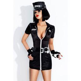 Uniforme feminino preto sexy on-line-Alta Qualidade New Female Black Cop uniforme Uniforme Sexy Traje Oficial Das Mulheres Clube Jogo de Halloween Trajes Cosplay W348850