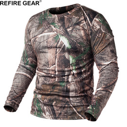 camicie a maniche lunghe Sconti ReFire Gear primavera manica lunga maglietta mimetica all'aperto uomini Quick Dry O collo Camo maglietta caccia escursionismo campeggio camicia