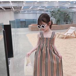 I capretti abbottonano il vestito online-Hot 2019 Summer Girl Dress Gonna per bambini Bretelle Morbido cotone Maxi abiti lunghi Abiti per bambina