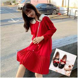 Rotes peter pankragenkleid online-(Kleid + Schuhe) Plus Size Qualität beiläufiges Kleid roten Kleid Süße Damenbekleidung mit Bubikragen und langen Ärmeln