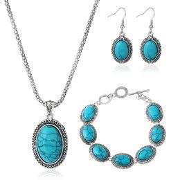 имитация прозрачный браслет Скидка Эллипс бирюзовый кулон ожерелье Павлин синий мотаться серьги драгоценные камни браслеты для женщин западной богемы комплект ювелирных изделий бесплатная доставка