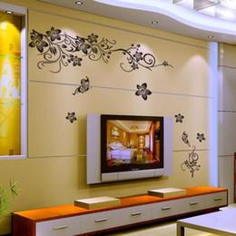 vinile a parete della vite Sconti Hee Grand Carta da parati rimovibile Adesivi murali Vinile Decalcomania Arte - Fiori e vite Carta da parati creativa Adesivo da parete per la casa