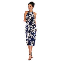 4bf7527496 en stock Vestidos de mujer Vestidos de cambio elegante Sin mangas con  cuello redondo Halter Vestido de gasa con estampado Vestidos de trabajo