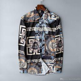 Vendita all'ingrosso ktv Famous Brand design abiti uomo galaxy golden dragon flower stampa manica lunga 3d camicia stampa barocca Medusa Shirt05 da