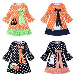 Laranja pageant vestido crianças on-line-Crianças halloween vestido de abóbora criança orange primavera outono traje crianças festa pageant menina feriado halloween vestidos