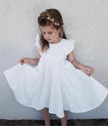 faldas de lino de verano Rebajas Bebés Vestido de playa Vestido de lino Flying Lace Lace Ruffle Big Billowing Faldas Plisado a media pierna Verano Niño Niños Ropa de diseñador Vestidos