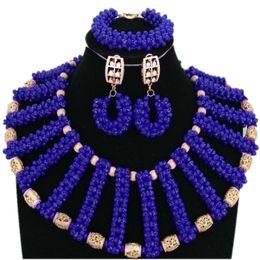 2019 королевский синий свадебный комплект ювелирных изделий Dudo Store Fine Jewelry Set For Women African Wedding Shoulder Jewelry Royal Blue / Red / Fuchsia Nigerian  Set For Women дешево королевский синий свадебный комплект ювелирных изделий