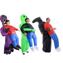 2019 fremdes kleid Alien Ghost Aufblasbares Kostüm Für Erwachsene Weihnachten Halloween Geburtstag Make-up Party Fun Toys ET Dress Up Cosplay Anzüge Outfit rabatt fremdes kleid