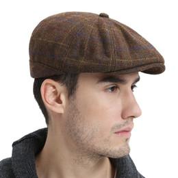7b4ad42de99 wholesale Wool Tweed Newsboy Cap Mens Women Flat Cap Large Check Cabbie Hat  Autumn Winter Beret Hats 188