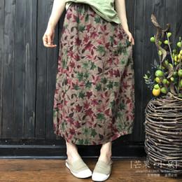 2019 jupe plissée Été Preppy Mori Style Floral Femmes Coton Lin Jupe Plissée Frais Printemps Dames Longue Mi-Veau Longueur Lanterne Jupes promotion jupe plissée