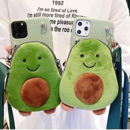 caso della borsa di lusso di iphone Sconti Avocado spalla della cassa del telefono della borsa per la copertura iphone 11 Pro Max di lusso cellulare della moneta della peluche borsa morbida in silicone per iPhone XR