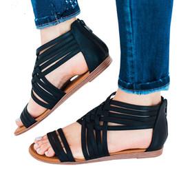 Sandalias de cuña niña plana online-Sandalias para mujer 2019 Nuevo Verano para niñas Sandalia para mujer Tobillo romano Cusual Zapatos Cuña Slip-On Flat Rome Plus Size