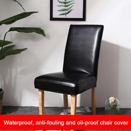 material de hoja Rebajas Cubierta de la silla Asiento de protección Comedor de cuero de la PU Soild estiramiento impermeable a prueba de aceite Banquete Hogar Moderno Accesorios de boda