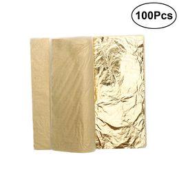 100 fogli d'imitazione foglia d'oro a 5,5 pollici per l'arte / artigianato di decorazione / doratura cornici artigianali A30 da