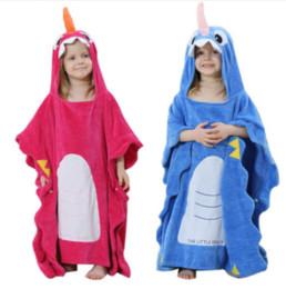 Cobertores de bebê on-line-Roupão de banho Do Bebê Com Capuz Animal Dos Desenhos Animados Bonito Toalha Infantil Unicórnio Pijamas Roupões de Banho Coral Criança Cobertor Pijamas MMA1518
