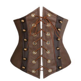corsages marrons Desconto Atacado-Sexy Gothic Steampunk Faux Leather Corset Underbust Brown Shaper Corpo Corselet bustier Corsage parte dianteira do laço For Women S-XXL