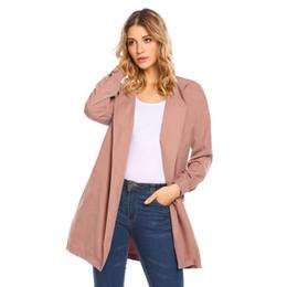 боковая щель с длинным рукавом Скидка New Women Casual Long Sleeve Solid Slit Side Belt Coat Cardigan Autumn Winter Pockets Button Sash Closure Loose Fit Hem