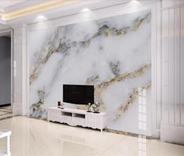 tallas de la pared china Rebajas Moderno Mármol Blanco Wallpaper 3D Mural de la pared para el fondo de la TV Decoración de la pared de oro de lujo Murales foto papel impreso para el dormitorio
