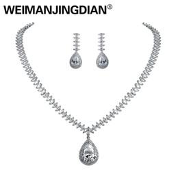 Brautschmuck Sets Weimanjingdian Marke Hohe Qualität Große Teardrop Zirkonia Halskette Und Ohrringe Braut Schmuck Sets Für Frauen Hochzeit