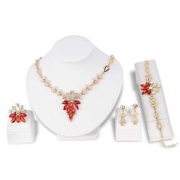 Collana di cristallo di lusso Set placcato in oro KC Orecchini in argento Set di quattro gioielli per gioielli da sposa donna da