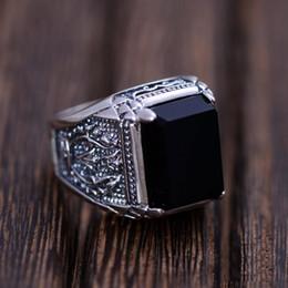 Оптово Черный обсидиан кольцо Vintage 100% Real Pure 925 стерлингового серебра для Mens натурального камня Подлинная Fine Jewelry Рок Мода от