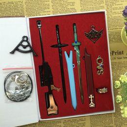 2020 asuna cosplay Sword Art Online SAO Schwerter Schlüsselanhänger aus Metall Kirigaya Kazuto Kirito Excalibu Asuna Elucidator Scabbard Schlüsselanhänger Box Cosplay Prop rabatt asuna cosplay
