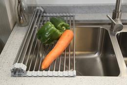 Gerichte machen online-Mehrzweck-Aufroll-Geschirrtrockner Hergestellt von lebensmittelechtem, silikonbeschichtetem Edelstahl in Schwarz und Silber