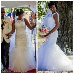 Couverture de corset vintage en Ligne-2019 robes de mariée africaine sirène mince sirène perles paillettes perlée Corset robes de mariée jardin Vintage formelle couvert bouton
