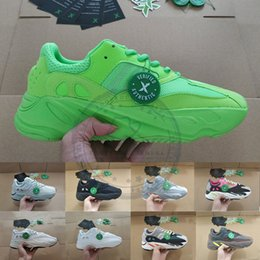 Zapatos de tenis resplandor online-700 Glow Green Geode Estático Calzado reflectante para correr Kanye West Vanta analógico Wave Runner Hombre Mujer Zapatillas de deporte Zapatillas de deporte Con Stock X