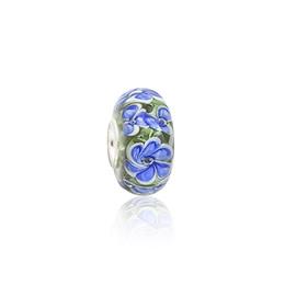 Perles de verre murano vert en Ligne-Pétales Bleu Brillant Vert Perles De Verre De Murano S925 Argent Charms Fil Fit Fit Pandora Bracelets Collier DIY Fille Bijoux Résultats PDZ108